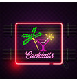 cocktails square frame neon sign purple background vector image vector image