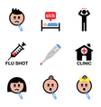 Cold flu sick people icons set vector image
