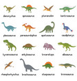 collection cute flat dinosaurs vector image vector image