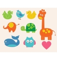 colorful animals set for kids vector image vector image