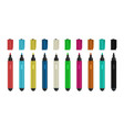colorful markers realistic highlighters 3d felt vector image vector image