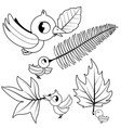 cute birds holding dry autumn leaves vector image vector image