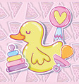 cute ducky with toys vector image