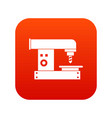 drilling machine icon digital red vector image vector image