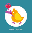 easter cartoon greeting card with chicken vector image vector image