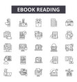 ebook reading line icons signs set vector image vector image