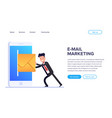flat email marketing concept sending emails using vector image