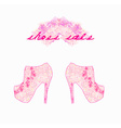 floral shoes poster vector image vector image