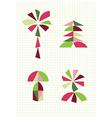 flower palm mushroom fir Tangram figures vector image vector image