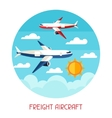 Freight aicraft transport background in flat vector image