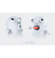ghost with transparency happy halloween 3d vector image vector image