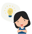 girl thinking with light bulb vector image vector image