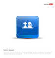 halloween grave icon - 3d blue button vector image