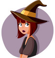 halloween witch girl wearing hat and costume vector image