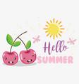 hello sumer cute fruits concept vector image vector image