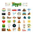 Hippie flat icons vector image vector image