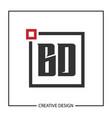 initial letter bd logo template design vector image