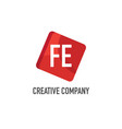 initial letter fe logo template design vector image vector image