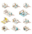 isometric low poly hospital rooms vector image vector image