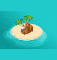 isometric paradise island in middle ocean vector image