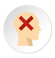 man head silhouette with red cross inside icon vector image vector image