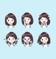 mask treatment cute girl vector image vector image