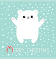 merry christmas candy cane text polar white bear vector image vector image