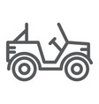military vehicle line icon transport and army vector image vector image