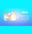milk and diary organic products poster with vector image