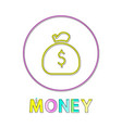 money web linear icon template with sack of coins vector image vector image
