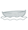 monochrome contour of wooden fishing boat in water vector image vector image