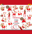 one a kind game with christmas characters vector image vector image