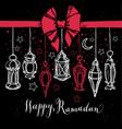 ramadan kareem with lantern in hand vector image vector image