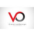 red and black vo v o letter logo design creative vector image
