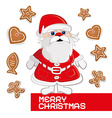 Retro Christmas Card with Santa Claus on White vector image vector image