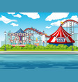 scene background design with circus rides at vector image vector image