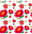 seamless pattern tile cartoon with red flowers vector image vector image