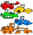 Set color silhouettes road construction vector image vector image