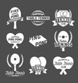 set of ping pong emblems labels badges an vector image
