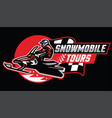 snowmobile tour badge design vector image