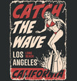 surfing vintage poster vector image vector image