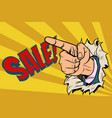the index finger shows on sale vector image vector image