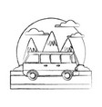 vintage van vehicle between mountains landscape vector image vector image