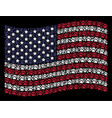 waving usa flag stylized composition of paw vector image vector image