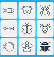 zoology icons set with globefish paw butterfly vector image vector image