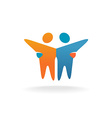 Two friends logo People teamwork concept symbol vector image