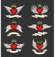 Winged Heart Emblem Set vector image