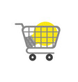flat design concept of light bulb in shopping vector image