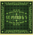 saint patricks day retro background vintage vector image