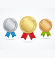 realistic metal award medals set vector image